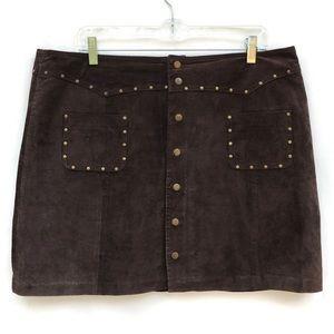 Vintage Boho Suede Brass Studded Mini Skirt